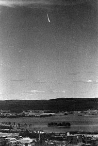 Cropped photograph widely distributed by the media. From: http://www.ufo.se/english/articles/ghostrocket.html
