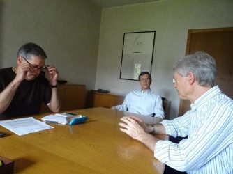 Talking with Paolo Toselli (right) and Edoardo Russo (Courtesy CISU)